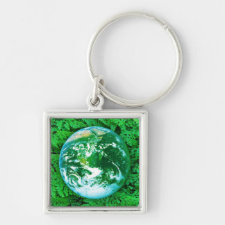 Green Earth - ecological awareness Silver-Colored Square Key Ring