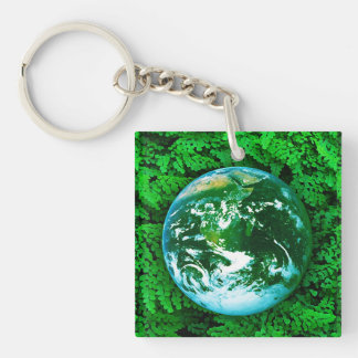 Green Earth - ecological awareness Single-Sided Square Acrylic Key Ring