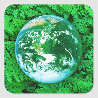 Green Earth - ecological awareness Square Stickers