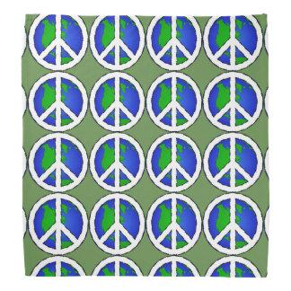 Green Earth Global Peace Sign  Bandanna