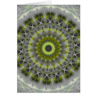 Green Earth Mandala Kaleidoscope pattern Greeting Cards