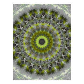 Green Earth Mandala Kaleidoscope pattern Postcard