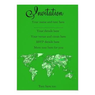 Green earth map 13 cm x 18 cm invitation card