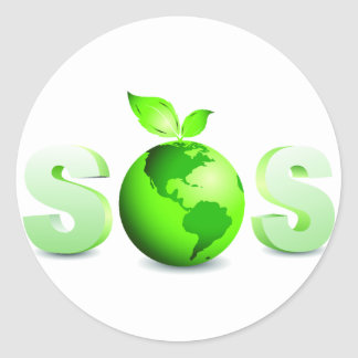 Green Earth SOS Earth Day Message Round Sticker