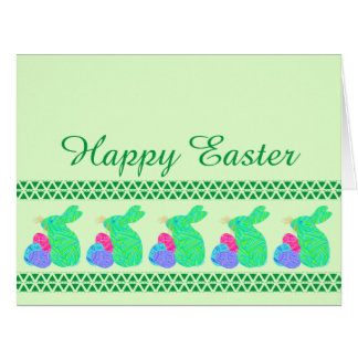 Green Easter Bunny Easter Eggs Colorful Rabbit Fun Greeting Card