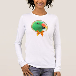 Green eclectus parrot realistic painting long sleeve T-Shirt