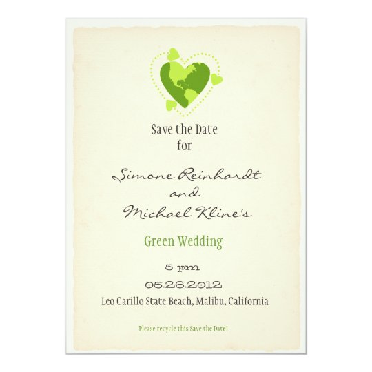 Green Eco Friendly Save the Date Card