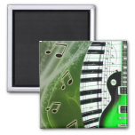 Green electric guitar with keyboard square magnet