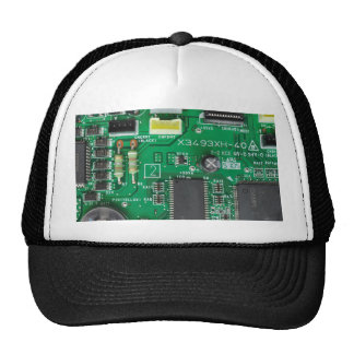 green electronic circuit board computer pattern hat