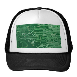 green electronic circuit board computer pattern trucker hat