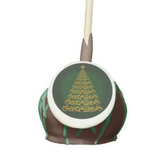 Green Elegant Christmas Tree Cake Pops