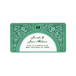 GREEN Elegant Floral Arch Wedding Address Label