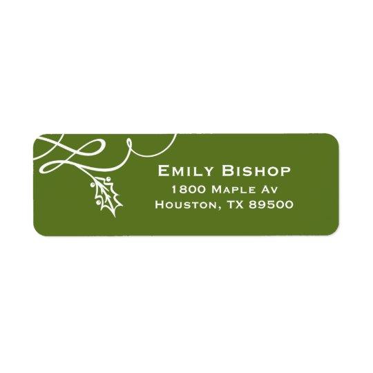 Green Elegant Holly Flourish Holiday Return Address Label