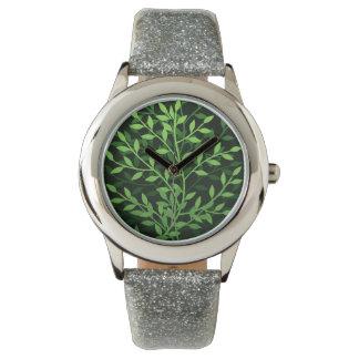 Green Elegant Leafy Branches Design Watch