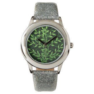 Green Elegant Leafy Branches Design Watches