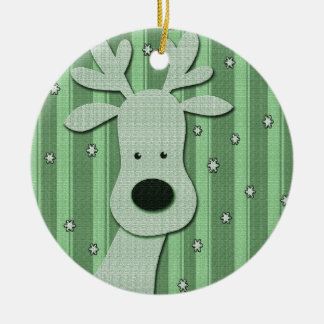 Green elegant reindeer christmas ornament