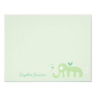 Green Elephant Baby Shower Boy Girl Thank You Card 11 Cm X 14 Cm Invitation Card