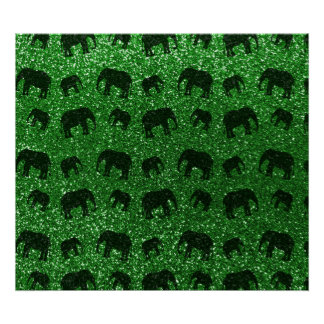 Green elephant glitter pattern print