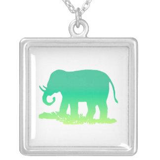 Green Elephant Square Pendant Necklace