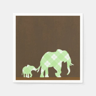 Green Elephants Brown Trendy Modern Baby Shower Disposable Serviettes