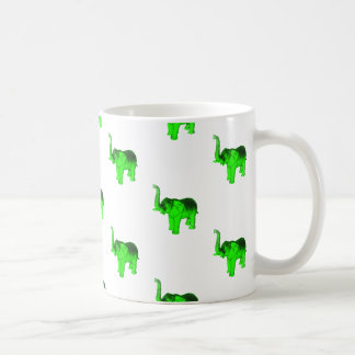 Green Elephants Pattern Coffee Mug
