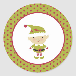 Green Elf Christmas Envelope Seal Stickers