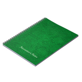 Green Embossed Flowers Suede Leather Look Notebook