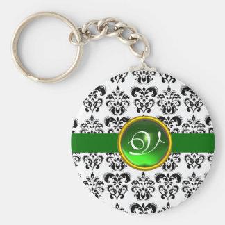 GREEN EMERALD DAMASK MONOGRAM, BASIC ROUND BUTTON KEY RING