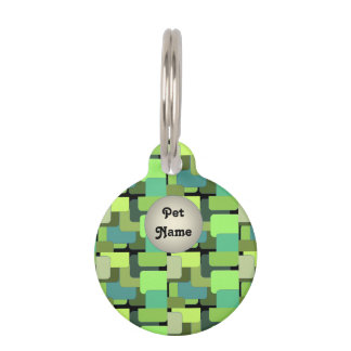 Green Emerald Lime Jade Modern Abstract Pet Name Tag