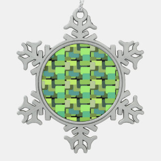 Green Emerald Lime Jade Modern Abstract Snowflake Pewter Christmas Ornament