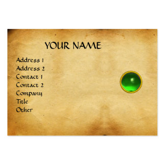 GREEN EMERALD MON ,GREY AGATA  parchment, Business Card