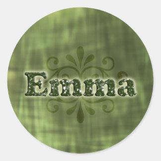 Green Emma Round Stickers