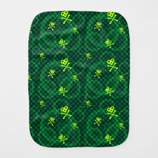 Green Emo Pattern With Circles Baby Burp Cloths