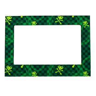 Green Emo Pattern With Circles Magnetic Picture Frames
