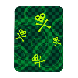 Green Emo Pattern With Circles Magnet