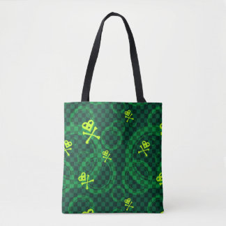 Green Emo Pattern With Circles Tote Bag