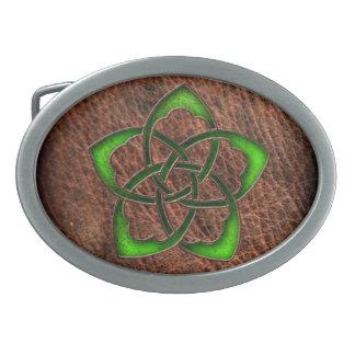 Green enameled celtic flower on leather belt buckles