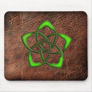 Green enameled celtic flower on leather mouse mat