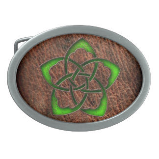 Green enameled celtic flower on leather oval belt buckle