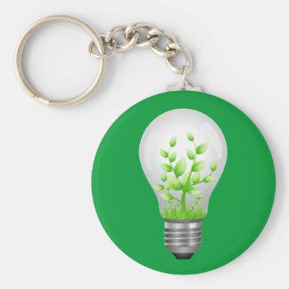 Green Energy Efficient Light Bub Basic Round Button Key Ring