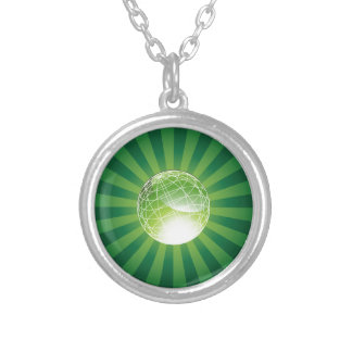 Green Energy Globe Round Pendant Necklace