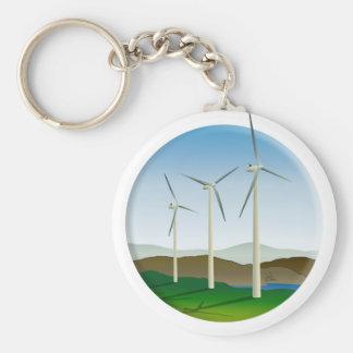 Green Energy Wind Turbine Basic Round Button Key Ring