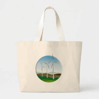 Green Energy Wind Turbine Canvas Bags
