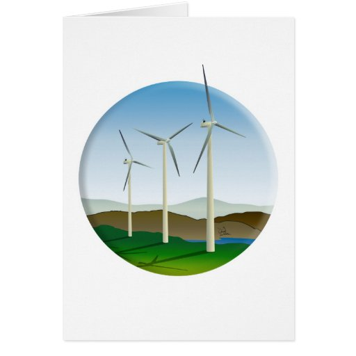 Green Energy Wind Turbine Greeting Card