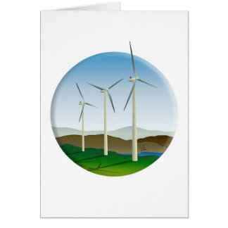 Green Energy Wind Turbine Greeting Card