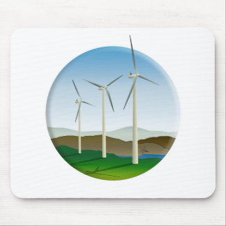 Green Energy Wind Turbine Mouse Pad