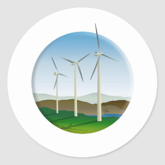 Green Energy Wind Turbine Round Sticker