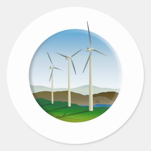 Green Energy Wind Turbine Round Sticker