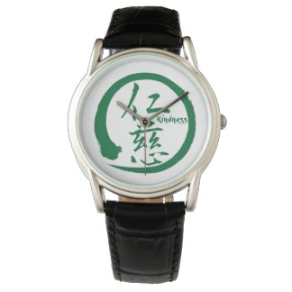 Green enso circle | Japanese kanji for kindness Watch