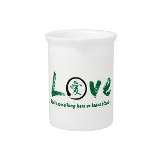 Green enso zen circle, Japanese symbol for love Pitcher